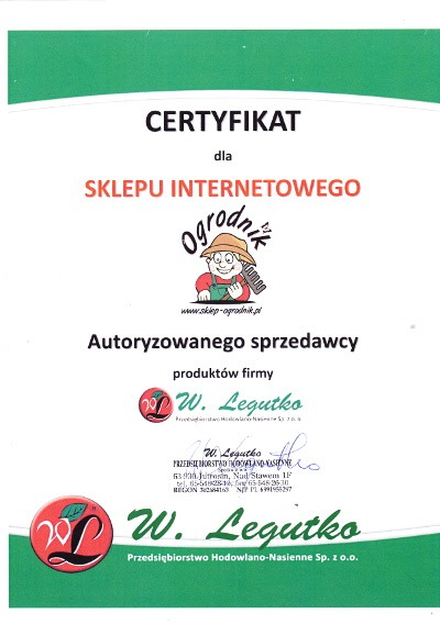 certyfikat W. Legutko dla sklep-ogrodnik.pl